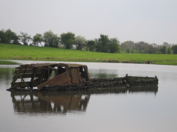 Derelict sunk narrow boat