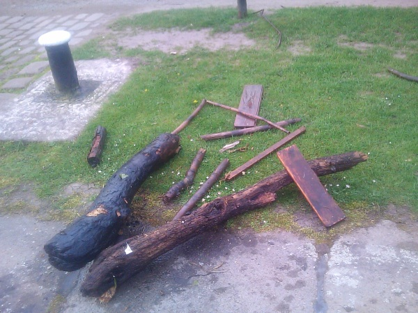 Pile of wood removed from canal lock
