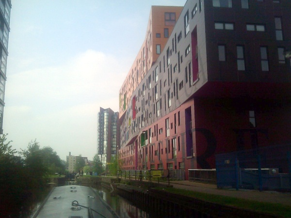 Canal with apartment blocks in background