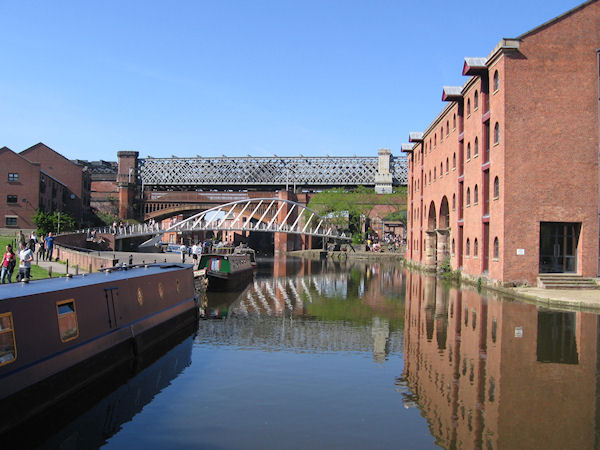 View from Castlefields Basin with two bridges in background