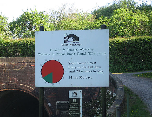Sign at north end of Preston Brook Tunnel