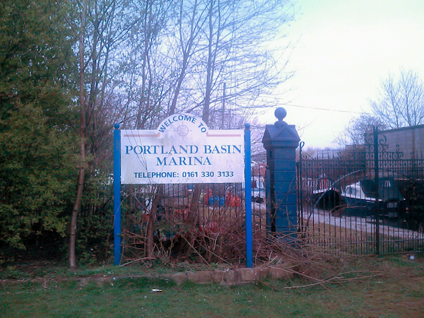 Sign at the entrance of Portland Basin Marina