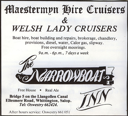 Narrowboat Inn advert