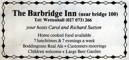 Barbridge Inn advert