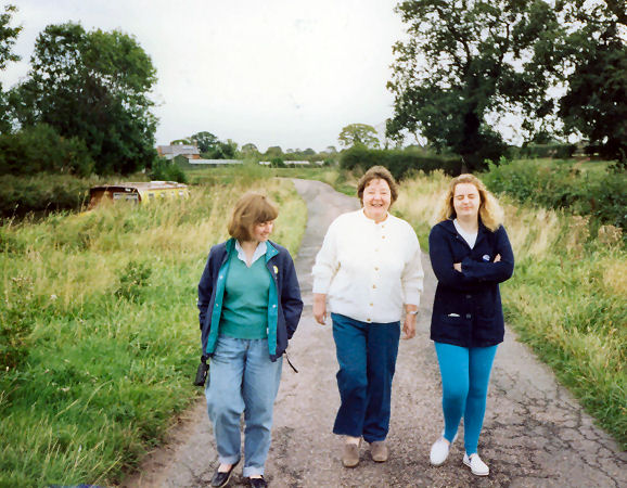 Alison, Mum and Melanie arriving back from walk