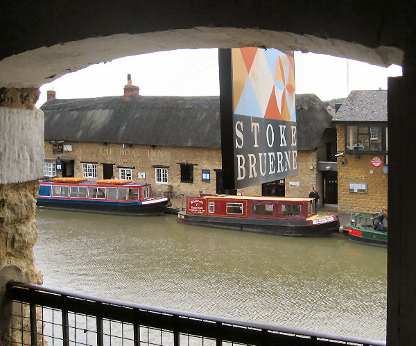 View from Stoke Bruerne canal museum of the Boat Inn (nice pint!)