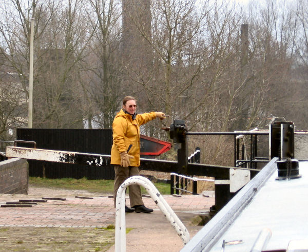 Alison working the first Etruria lock